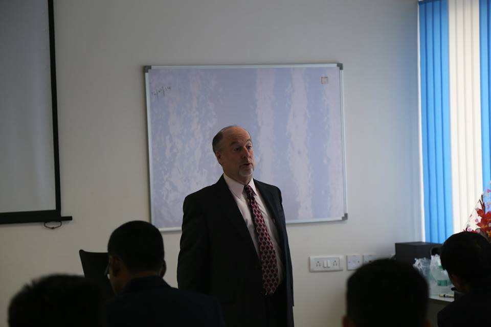 Mr. Wes Wingo, the Vice President of Hunter Engineering Company addressing the North India team.
